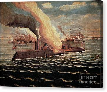 Battle Of The Monitor And The Merrimack Canvas Print by American School