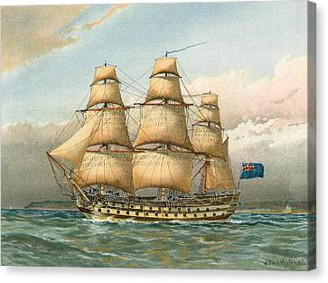 Water Vessels Canvas Print - Battle Ship by William Frederick Mitchell
