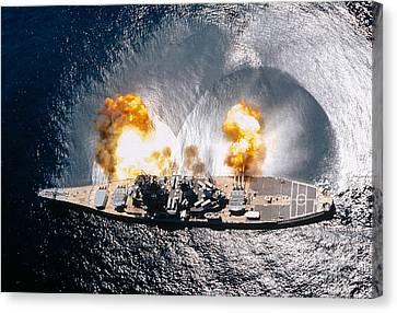 Battleship Iowa Firing All Guns Canvas Print by Stocktrek Images
