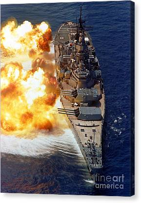 Warship Canvas Print - Battleship Uss Iowa Firing Its Mark 7 by Stocktrek Images