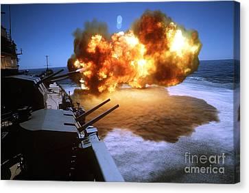 Battleship Uss Missouri Fires One Canvas Print by Stocktrek Images