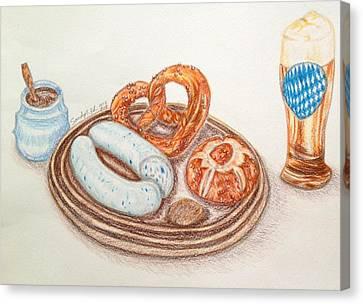 Bavarian White Sausage Canvas Print by Jo lan Tao