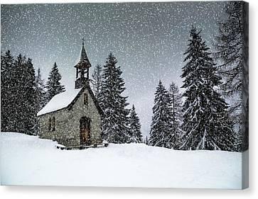 Bavarian Winter's Tale Anna Chapel Canvas Print by Melanie Viola