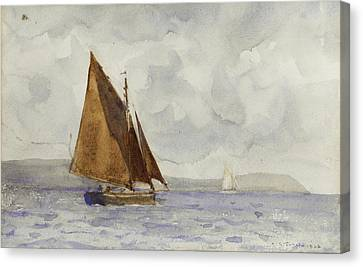 Canvas Print featuring the painting Bawley Running Up The Coast by Henry Scott Tuke