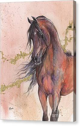 Bay Horse Canvas Print - Bay Arabian Horse 2016 03 12 by Angel Tarantella