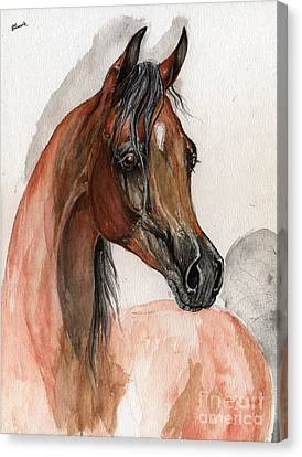 Bay Arabian Horse Watercolor Portrait Canvas Print by Angel  Tarantella