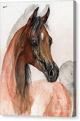 Bay Arabian Horse Watercolor Portrait Canvas Print by Angel  Tarantella