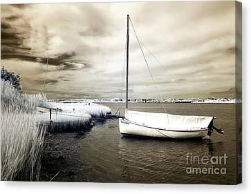 Bay Boat Brown Infrared Canvas Print by John Rizzuto