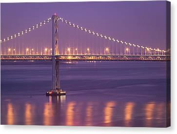 Bay Bridge At Dusk Canvas Print by Sean Duan