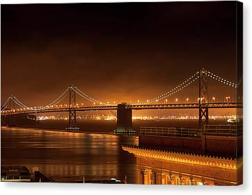 Bay Bridge At Night Canvas Print