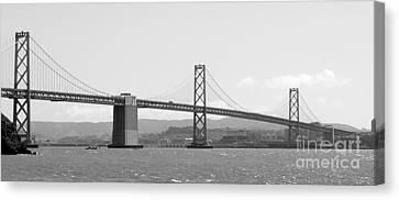 Bay Bridge In Black And White Canvas Print by Carol Groenen