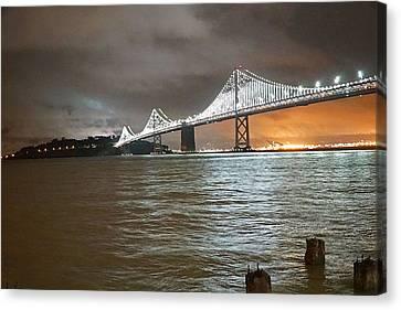 Canvas Print - Bay Bridge Night by April Bielefeldt