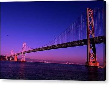 Canvas Print featuring the photograph Bay Bridge Sunset by Linda Edgecomb