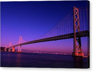 Bay Bridge Sunset Canvas Print by Linda Edgecomb