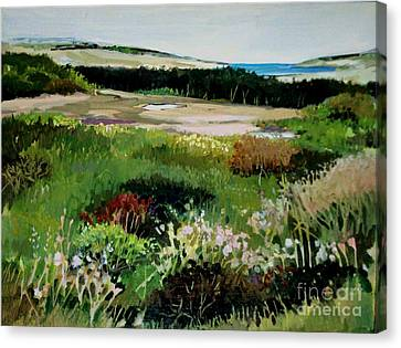Canvas Print featuring the painting Bay Meadow by Diane Ursin