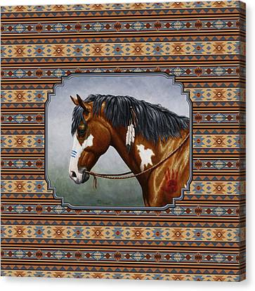 Bay Native American War Horse Southwest Canvas Print by Crista Forest