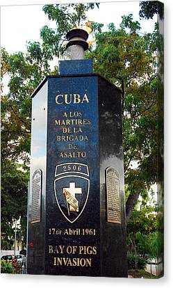 Bay Of Pigs Invasion Memorial Canvas Print by James Kirkikis