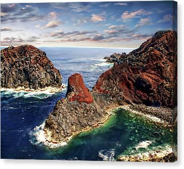 Bay Of Ponta Da Barca Canvas Print by Anthony Dezenzio