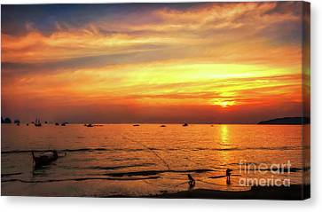 Bay Sunset Canvas Print by Adrian Evans