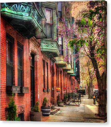 Bay Village Brownstones And Cherry Blossoms - Boston Canvas Print by Joann Vitali