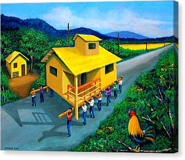 Bamboo House Canvas Print - Bayanihan by Cyril Maza
