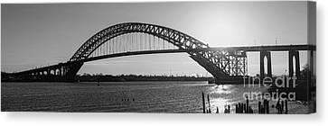 Bayonne Bridge Panorama Bw Canvas Print