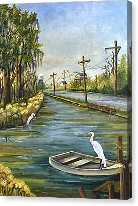 Oak Canvas Print - Bayou Terre Aux Boeufs by Elaine Hodges