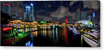 Bayside Miami Florida At Night Under The Stars Canvas Print by Justin Kelefas