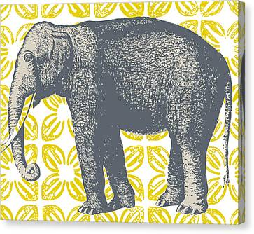 Bazaar Elephant Yellow Canvas Print by Thomas Paul