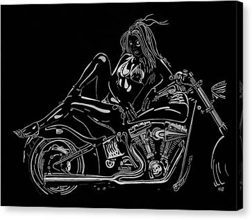 Canvas Print featuring the drawing Bb Five by Mayhem Mediums