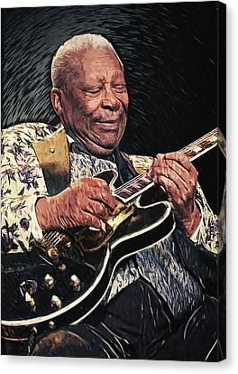 Rhythm And Blues Canvas Print - B.b. King II by Taylan Apukovska