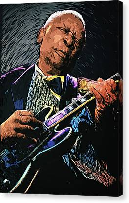 Rhythm And Blues Canvas Print - Bb King by Taylan Apukovska