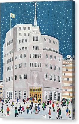 Snow Flag Canvas Print - Bbc's Broadcasting House  by Judy Joel