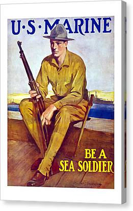 Be A Sea Soldier - Us Marine Canvas Print by War Is Hell Store