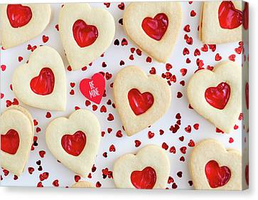 Canvas Print featuring the photograph Be Mine Heart Cookies by Teri Virbickis