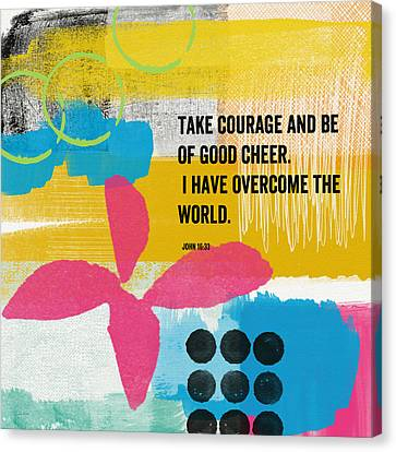 Be Of Good Cheer- Contemporary Christian Art By Linda Woods Canvas Print by Linda Woods