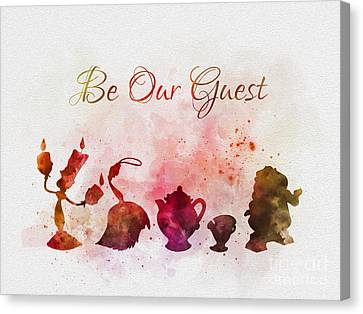 Chip Canvas Print - Be Our Guest by Rebecca Jenkins