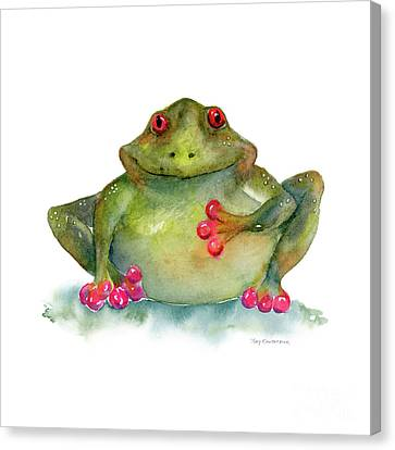 Frog Watercolor Canvas Print - Be Still My Heart by Amy Kirkpatrick