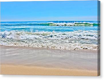 Beach And Ocean Waves Canvas Print by Colleen Kammerer