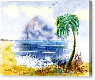 Beach And Palm Tree Of D.r.  Canvas Print
