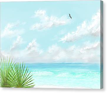 Canvas Print featuring the digital art Beach And Palms by Darren Cannell