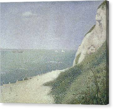 Beach At Bas Butin Canvas Print by Georges Pierre Seurat
