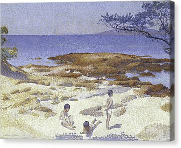 Beach Scenes Canvas Print - Beach At Cabasson by Henri-Edmond Cross