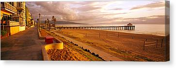 Beach At Dusk, Manhattan Beach, Los Canvas Print by Panoramic Images