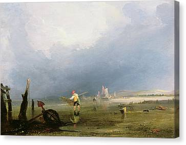 Beach At Shoreham Canvas Print by Anthony Vandyke Copley Fielding