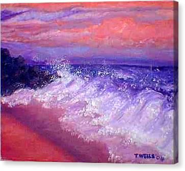 Beach At Sunrise Canvas Print by Tanna Lee M Wells