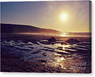 Canvas Print featuring the photograph Beach At Sunset by Lyn Randle