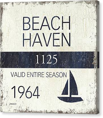 Vintage Sign Canvas Print - Beach Badge Beach Haven by Debbie DeWitt