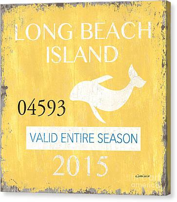 Beach Badge Long Beach Island Canvas Print by Debbie DeWitt