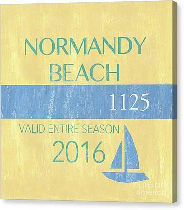 Beach Badge Normandy Beach 2 Canvas Print by Debbie DeWitt